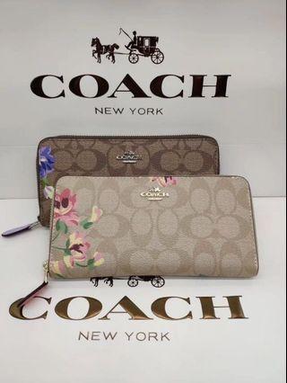 COACH 73345 新款女士拉鏈長夾 花朵印花 內裡全皮 內置12個卡夾 清新氣息 附購證
