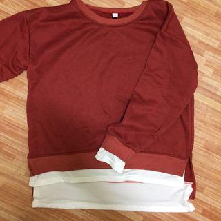 Long Sleeve Red Sweatshirt