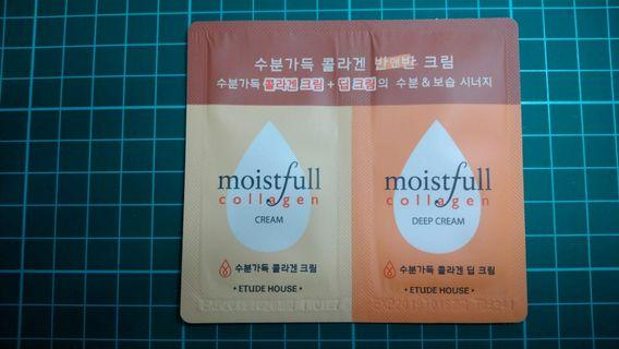 🚚 [小樣] Etude House 水足感~極效膠原半半體驗組 moistfull collagen half & half cream