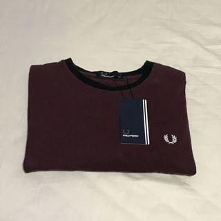 Fred Perry Maroon Block Ringer T-shirt / Tee