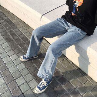 復古水洗磨白闊腿褲 牛仔寬褲