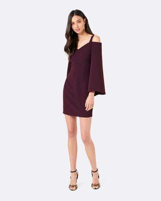 Forever New Off Shoulder Burgandy Wine Dress with Flare Sleeves