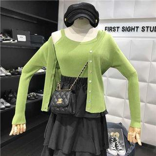 🚚 穿一次 兩件套 綠背心+外套
