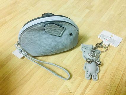 👛[零錢包+鑰匙圈]全新Miniso日本帶回可愛零錢包(灰色)