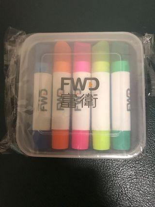 全新 富衛 FWD 五色顏色蠟筆