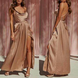 Elegant maxi slit bare back dress