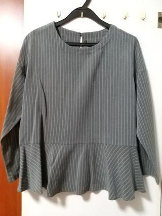 Iora Grey Striped Peplum Top