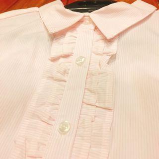 (全新)NET短袖粉色荷葉邊襯衫 上班族 職場新人 OL