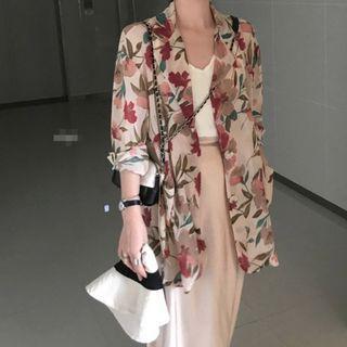 現貨 VM 春夏新款 chic時尚百搭顯瘦花朵印花 薄款寬鬆兩粒扣襯衫外套 2色