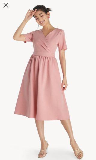 Midi Surplice Flared Out Dress in Pink