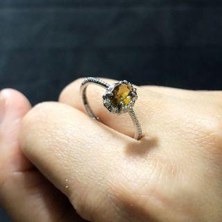 🚚 純銀 碧璽戒指(黃帶橘)💍