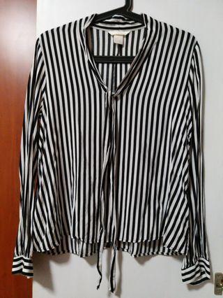 H&M Black & White Striped Blouse #Style