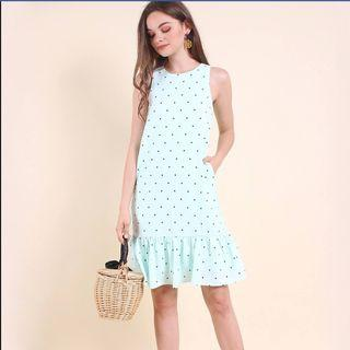🚚 BNWT Neonmello polka dot dropwaist dress in mint