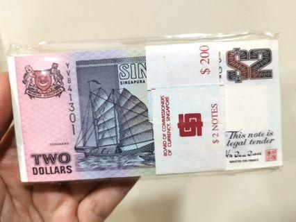 Singapore $2 Dollars Ship Series 100pcs Running Number UNC