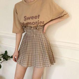 [PO] 2019 spring korean style checkered ruffle high waisted skirt