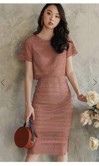 🚚 Gaia Crochet Top & Split MIDI in dust pink