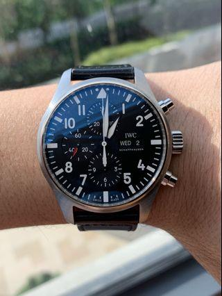 45% CRAZY OFF!! Like New IWC Pilot Date Day Chronograph 377709 Black Dial 43mm