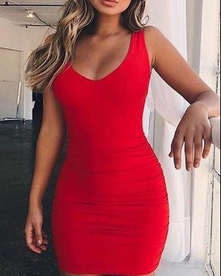 🚚 Red Sleeveless Top Plunging BackLine