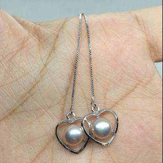 Natural Freshwater Pearl Silver 925 Earrings 天然淡水珍珠银耳钉
