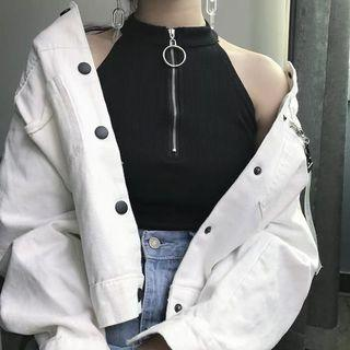 [PO] summer style zip up halter top