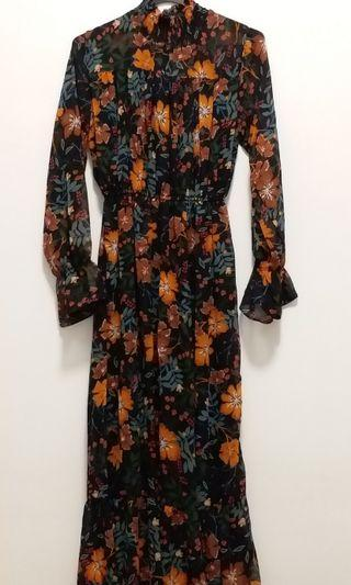 Brand New Printed Floral Long Dress