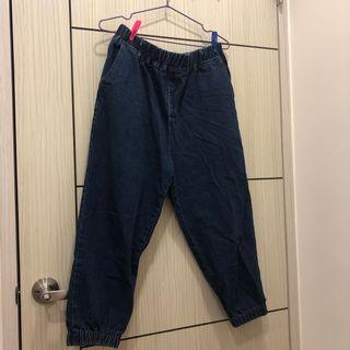 深藍牛仔寬褲