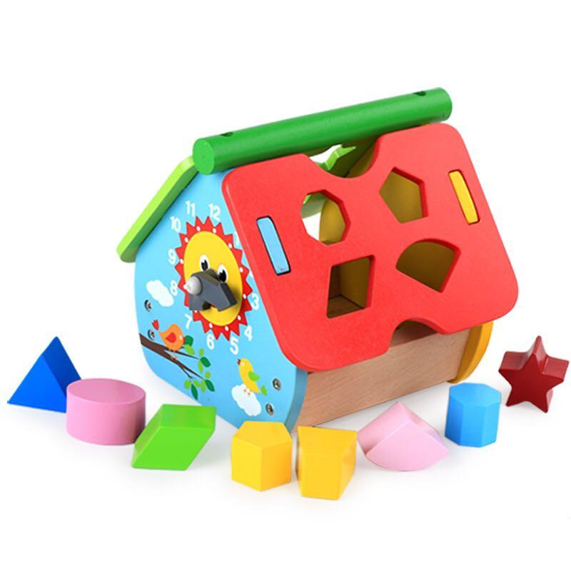木製玩具屋 時間形狀幾何 幼稚園面試玩具