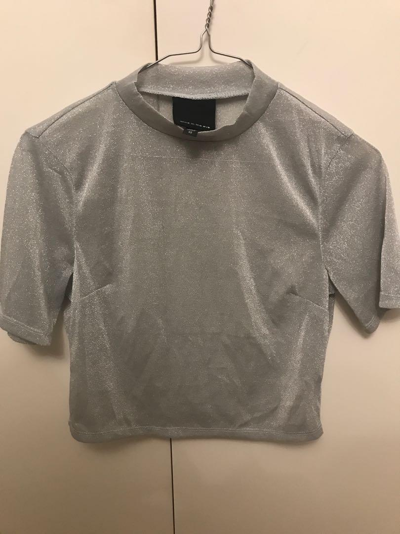 Alice in the eve sparkly silver mesh high neck top