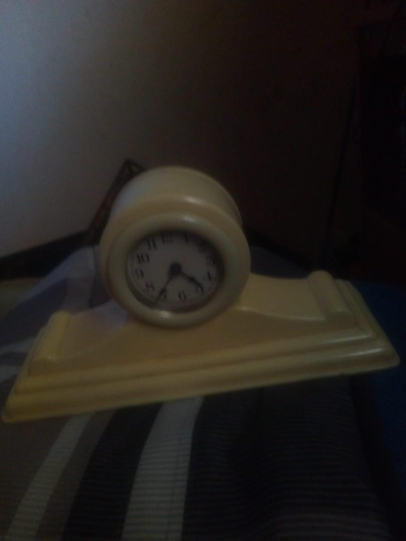 Antique miniature mantle clock made by lux clock company Waterbury CT USA