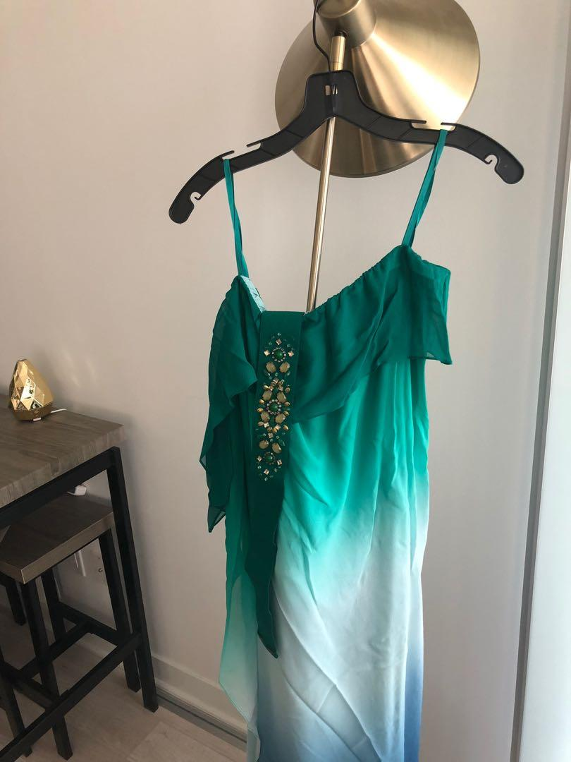 BCBGMAXAZRIA Green Ombré Chiffon Belted Draped Strapless Gown