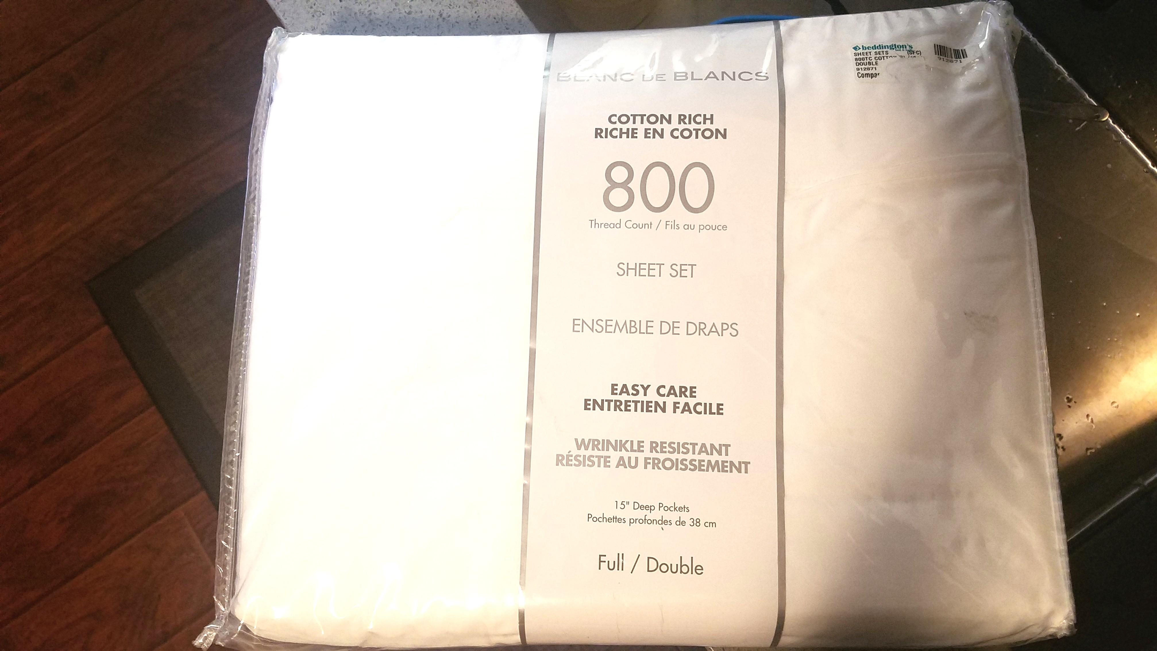 Beddingtons Full/Double White 800-Count Silky Sheet Set