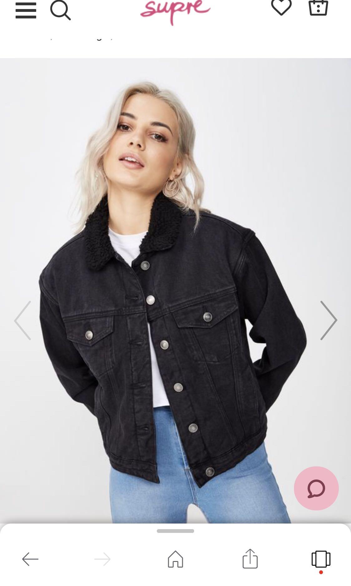 Black Denim Jacket with Wool Collar (oversized but slightly cropped)