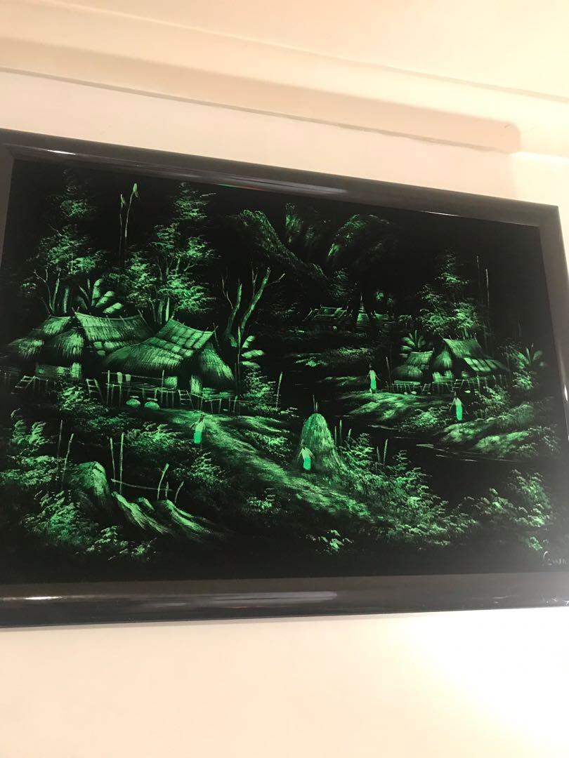 Black Velvet Original Art Village Scene Large Framed