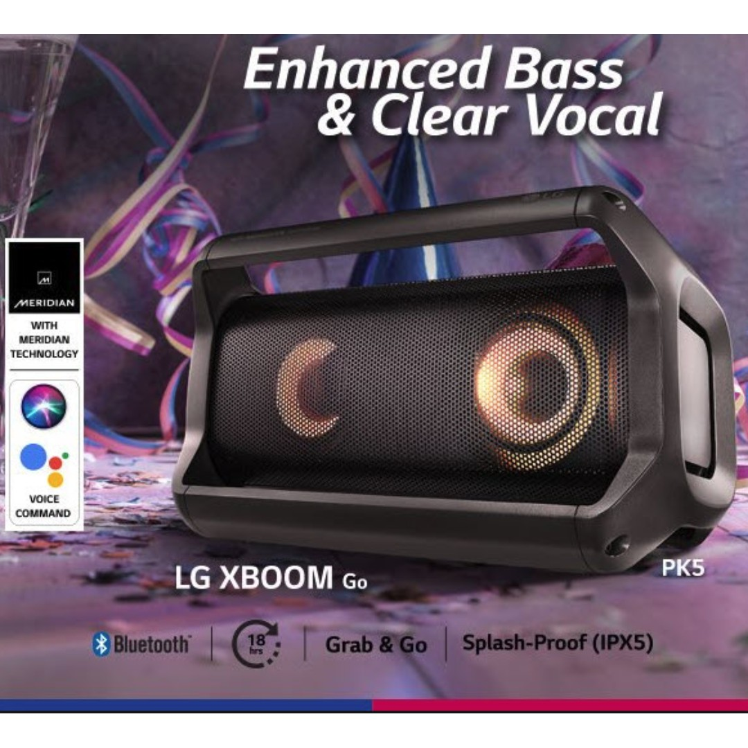BNIB LG PK5 XBoom Go Portable Bluetooth Audio Speakers with Meridian  Technology