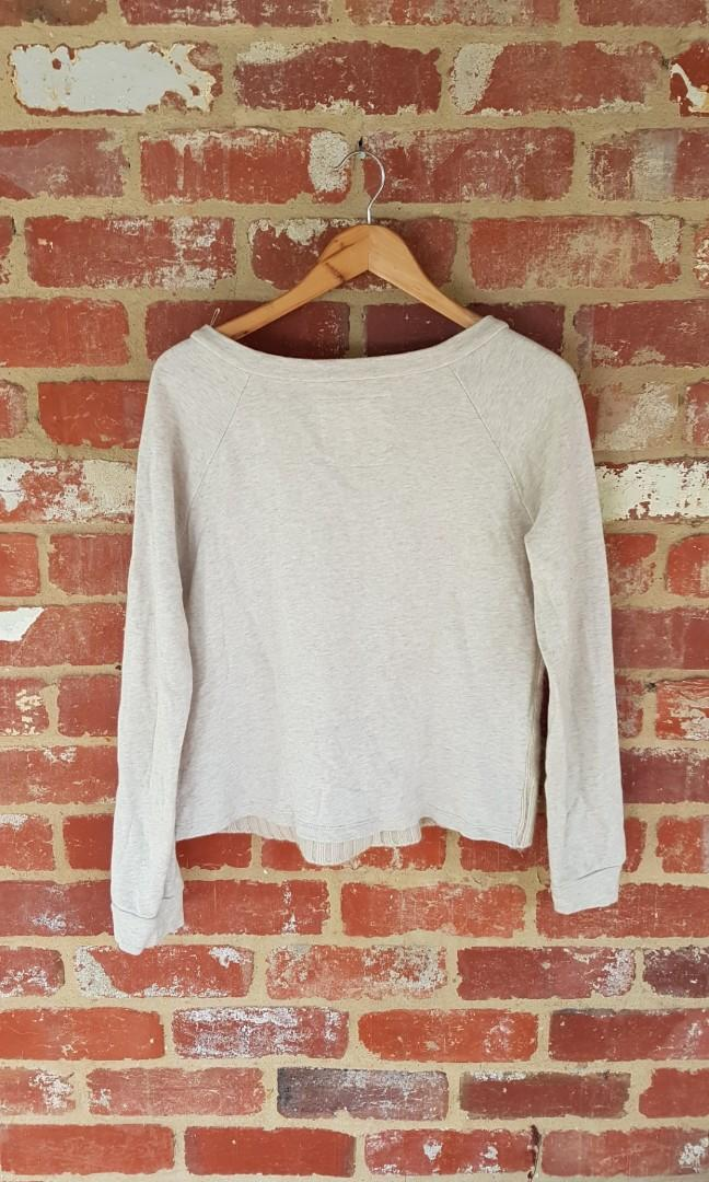 Country Road Wool Cream Cotton Hybrid Jumper L Free Postage
