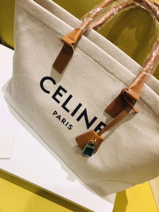 Horizontal Cabas Celine in Canvas With Celine Print And Calfskin