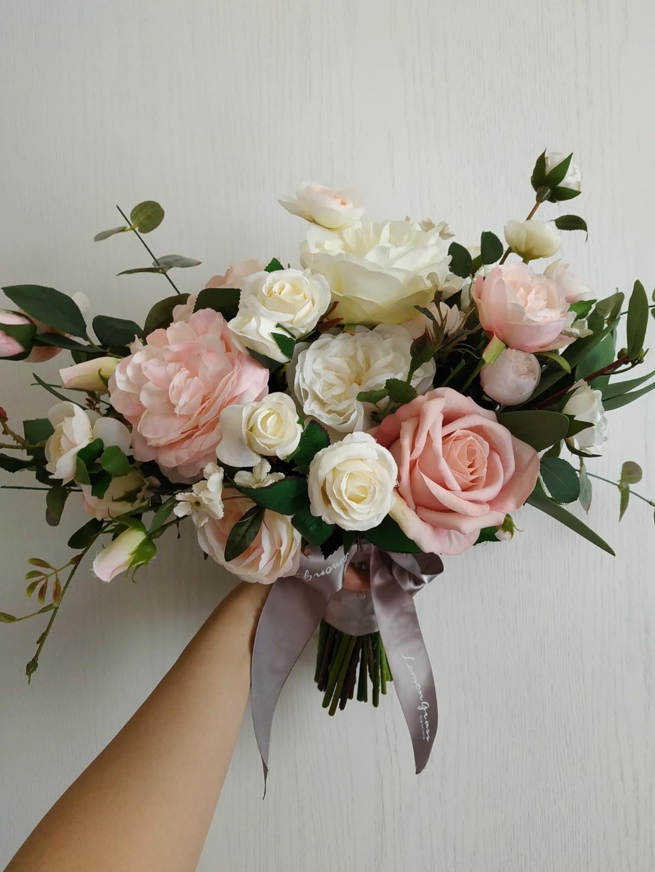 Lemongrass 粉紅白色絲花花球 仙氣花球歐式 影相絕靚