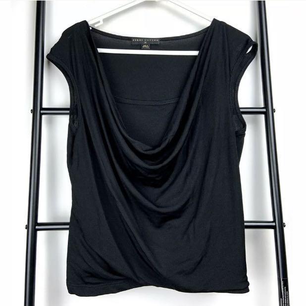 Perri Cutten M black basic cowl neck tank top shirt blouse designer smart casual