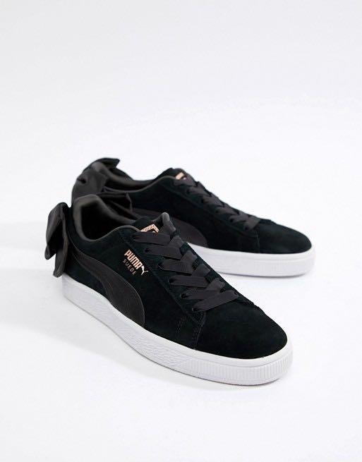 Puma Suede Bow Trainers in Black, Women