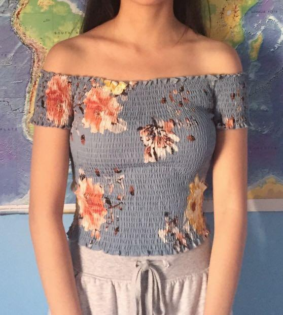 Ruched Off Shoulder Top Baby Blue with Floral Pattern #SwapCA
