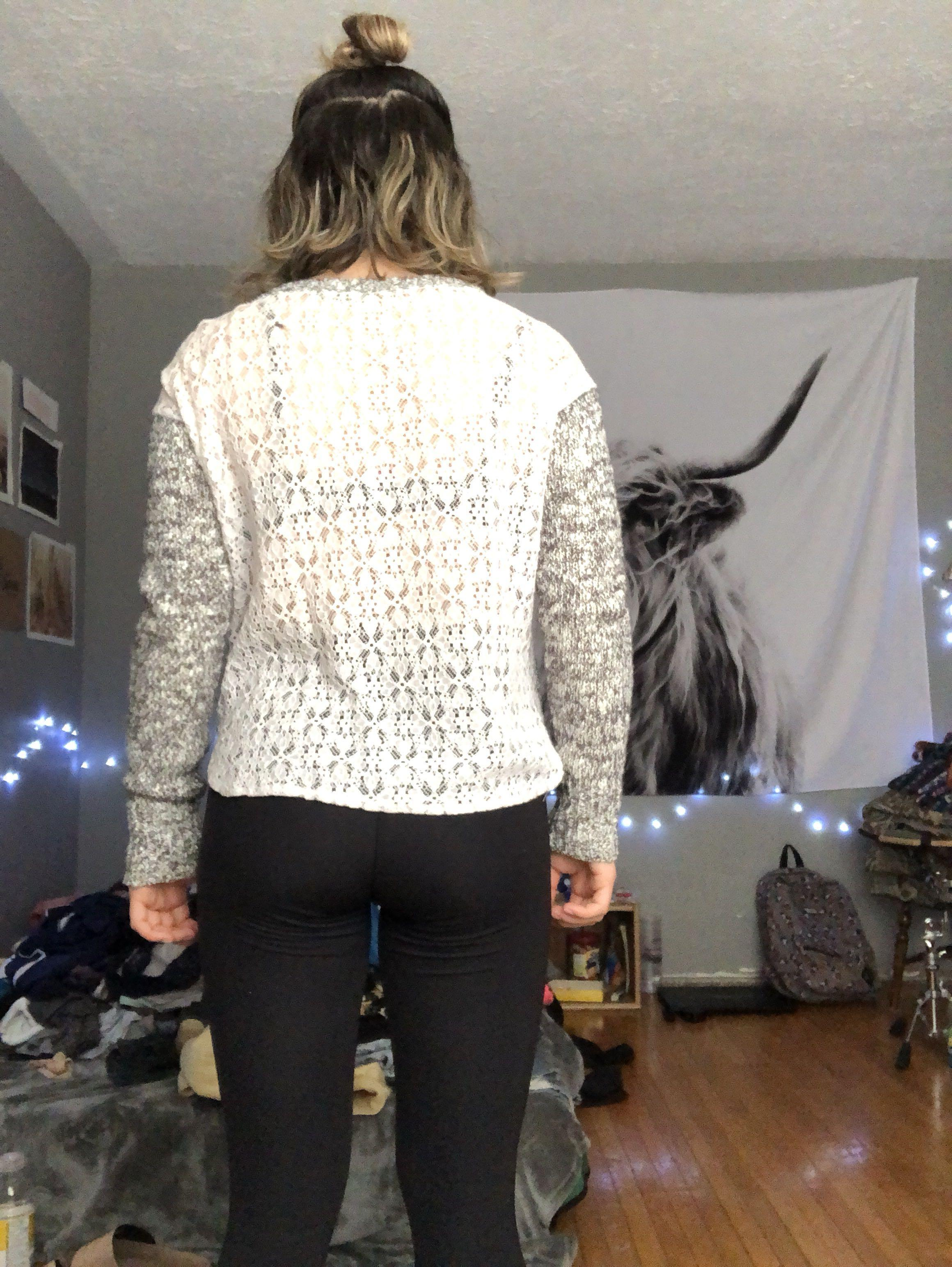 Salt and pepper sweater with lace detailing on the back