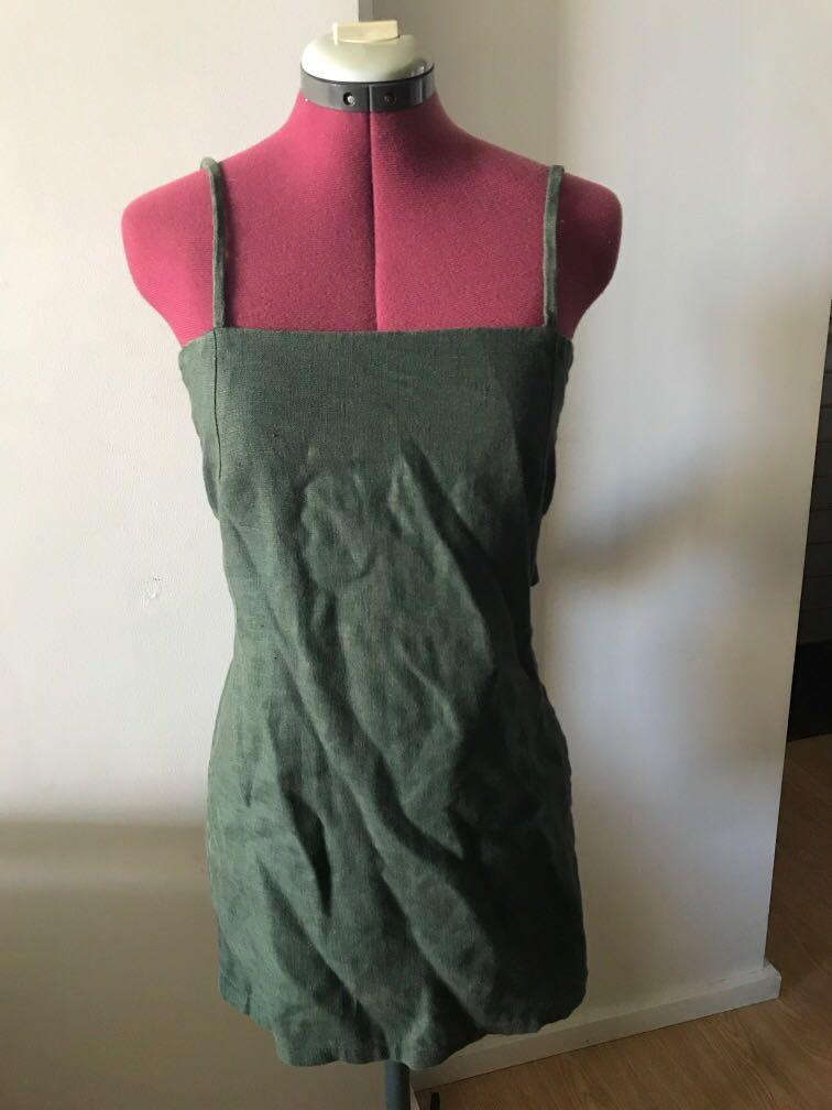Sir the label green mini linen dress tie up size xs