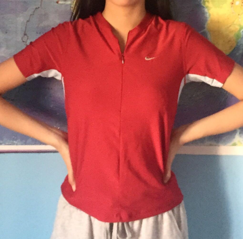 Vintage Red Nike Half Zip-Up Dri Fit T-shirt with back pocket