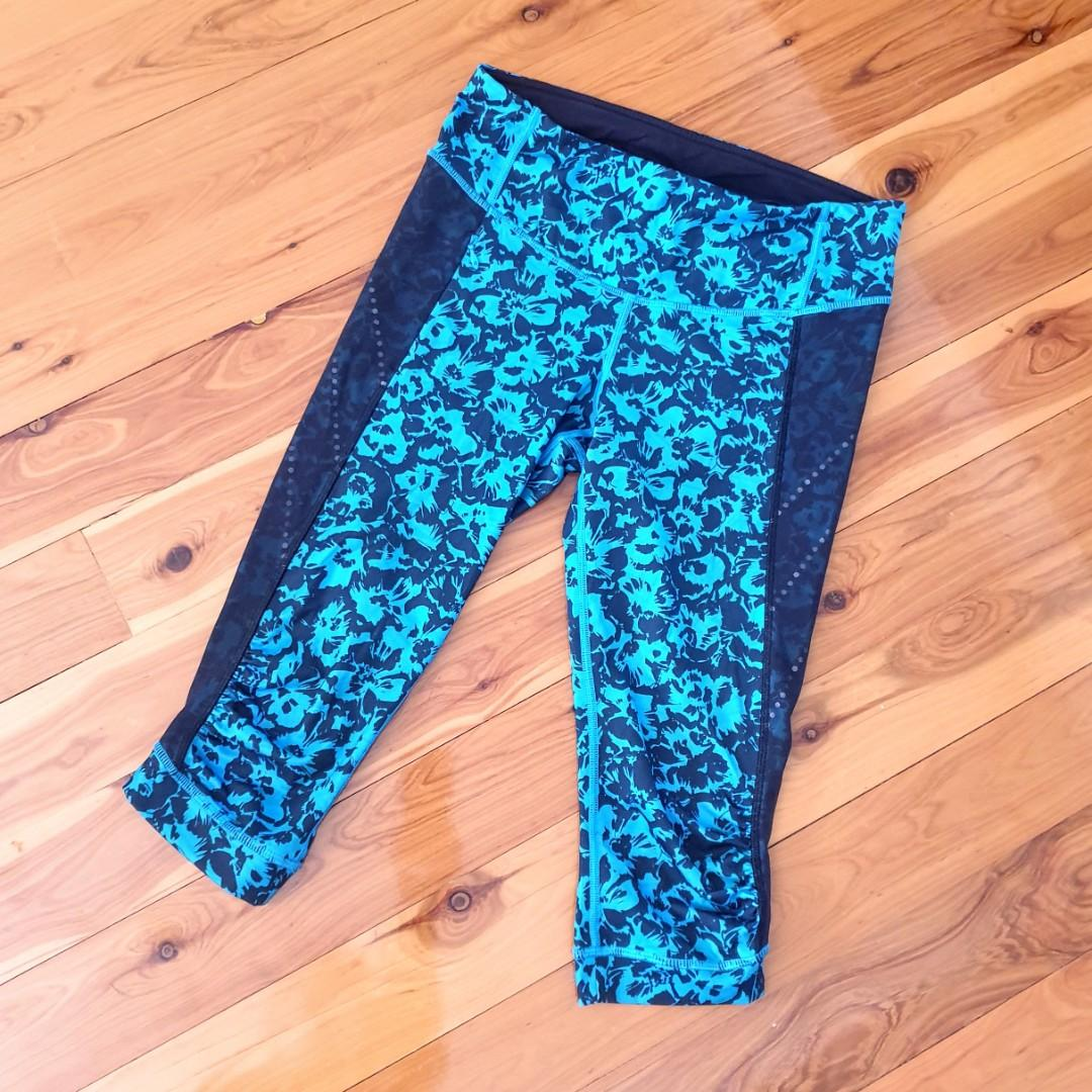 Women's size 6 'LULULEMON' Gorgeous 3/4 floral print tights activewear - AS NEW