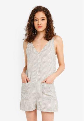 TOPSHOP Striped Linen Jumpsuit