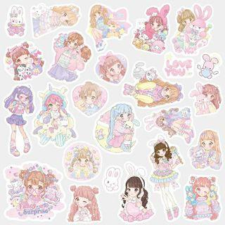 [ PO ] Cute Pink Girl Sticker Pack