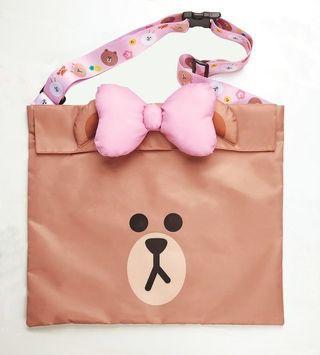 全新 鴻福堂 line friends  熊大妹妹  choco 行李帶 環保袋 旅行袋 travel tote bag 連zip袋 最後一個