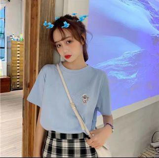 🚚 Ulzzang pastel blue graphic print shirt