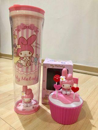 Sanrio melody Tumbler with the cupcake storage