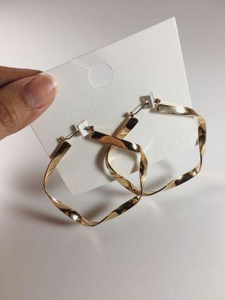 Forever 21 New Gold Hoop Earrings with Twisted Design